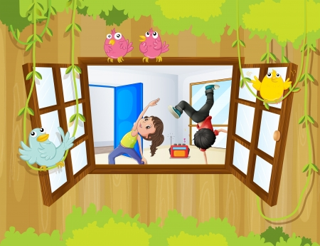 Illustration of a girl and a boy exercising inside a room with birds at the window Stock Vector - 20888667
