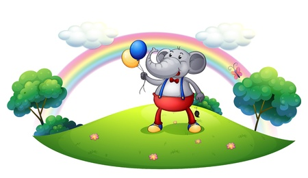 occassion: Illustration of an elephant with balloons at the hilltop on a white background Illustration