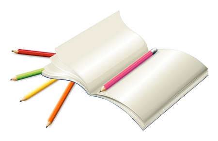 Illustration of the book with pencils on a white background  Vector