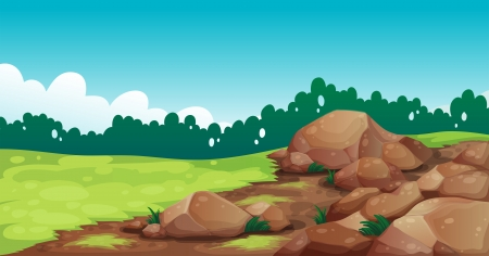 cloud formation: Illustration of the rocks at the field