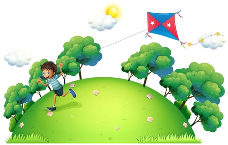 kids playing outside: Illustration of a boy flying a kite on a white background