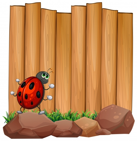 Illustration of a bug on a rock near the empty signboard on a white background Stock Vector - 20888685