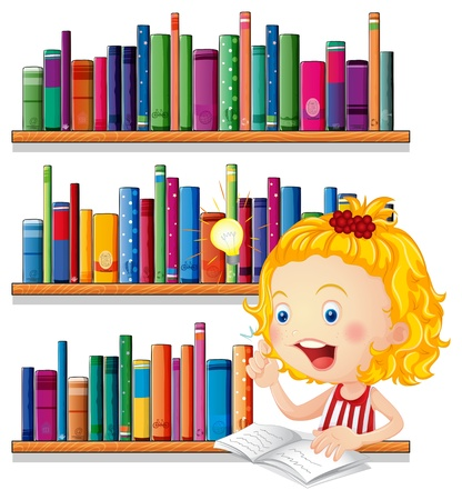 Illustration of a girl thinking while studying on a white background Stock Vector - 20888688