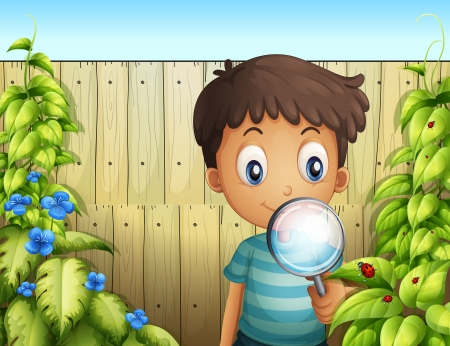 Illustration of a boy holding a magnifying glass to see the bugs  Vector