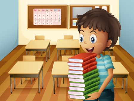 Illustration of a boy carrying a pile of books  Vector