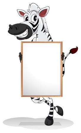 bulletin board: Illustration of a zebra holding an empty board on a white background  Illustration