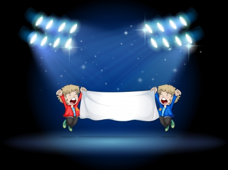 stageplay: Illustration of the two boys holding a banner under the spotlights