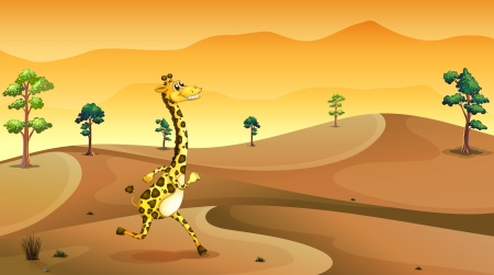 Illustration of a giraffe running at the desert Stock Vector - 20888765