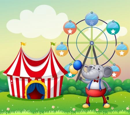 flaglets: Illustration of an elephant at the carnival Illustration