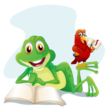 Illustration of a frog and a bird reading on a white background  Illustration