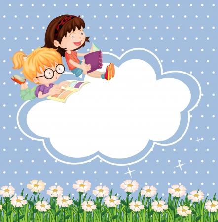 girotondo bambini: Illustrazione di una cartoleria con i bambini a leggere