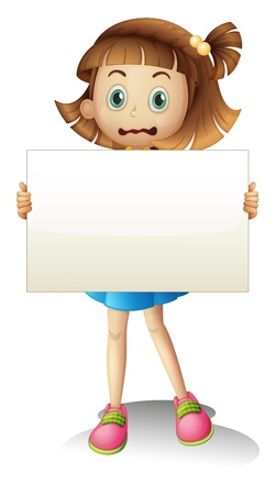 Illustration of a child holding an empty signboard on a white background Stock Vector - 20888793