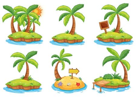 Illustration of the islands with different signs on a white background  Иллюстрация