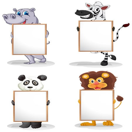 sign blank sign: Illustration of the four different animals with empty whiteboards on a white background