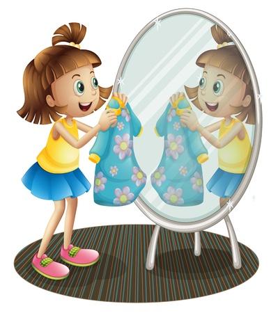 흰색 배경에 그녀의 드레스와 함께 거울을보고 여자의 그림