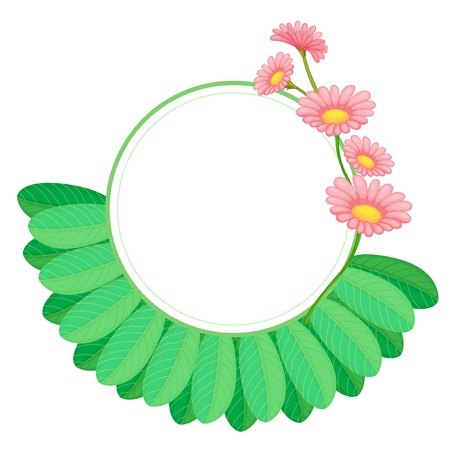 flower border pink: Illustration of a round border template with leaves and flowers on a white background
