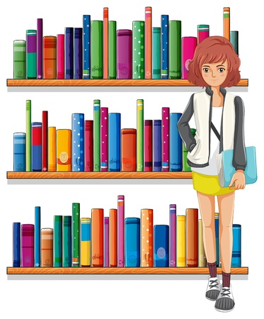 Illustration of a lady holding a book standing in front of the bookshelves on a white background Stock Vector - 20888842