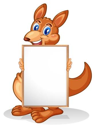 Illustration of a kangaroo holding an empty whiteboard on a white background  Illustration