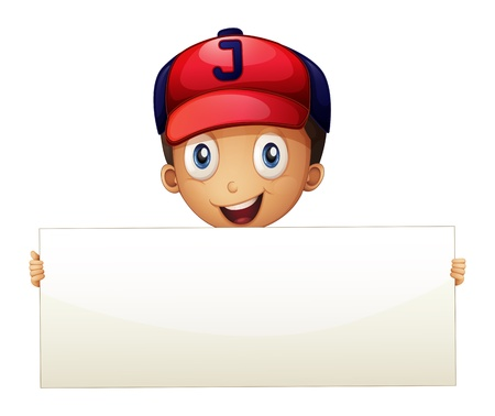 Illustration of a happy young boy holding an empty signboard on a white background  Vector