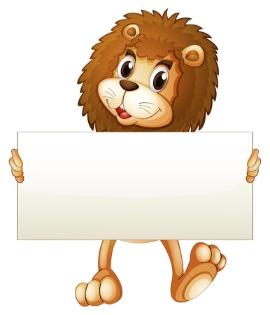 Illustration of a young lion holding an empty banner on a white background  Vector