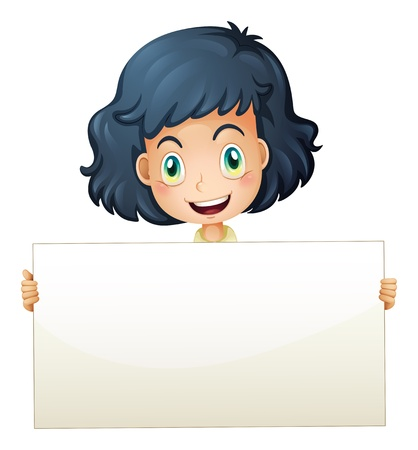 child holding sign: Illustration of a happy child holding an empty signboard Illustration