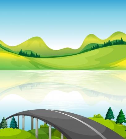 steel bridge: Illustration of a road bridge near the lake