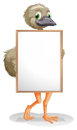 avestruz: Ilustración de un avestruz que sostiene un tablero vacío sobre un fondo blanco