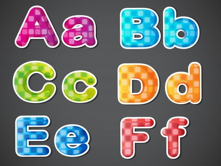 alphabetical order: Illustration of the six colorful letters of the alphabet on a gray background