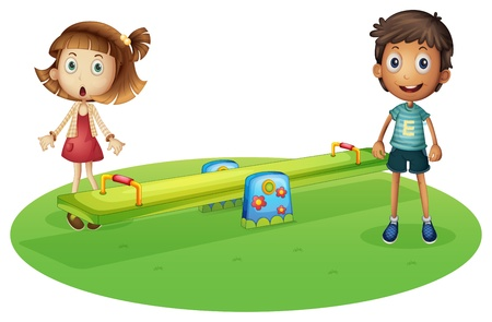 play ground: Illustration of a girl and a boy near the seesaw on a white background