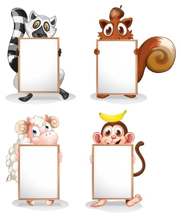 lemur: Illustration of the four different animals with empty whiteboards on a white background