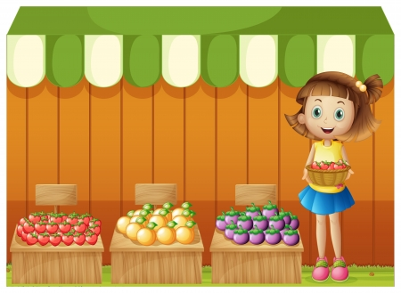Illustration of a girl selling different fruits on a white background Stock Vector - 20888872