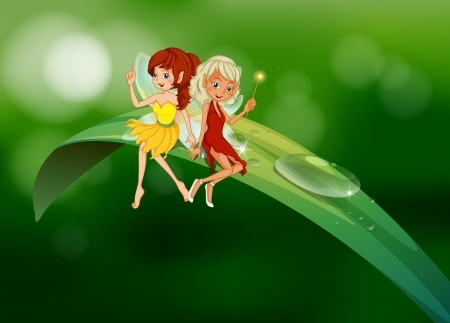 elongated: Illustration of the two fairies sitting on an elongated leaf Illustration