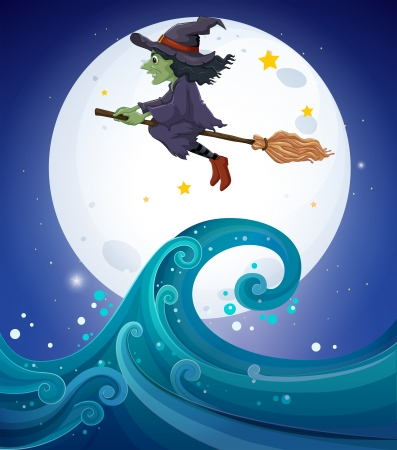 wavelength: Illustration of a witch above the giant waves
