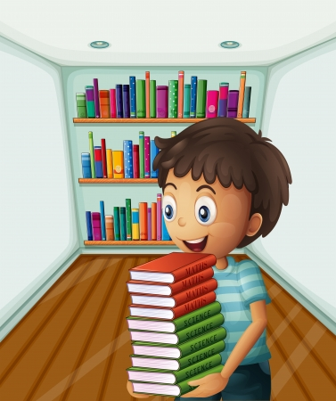 Illustration of a boy carrying a pile of books Stock Vector - 20888904