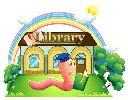 Illustration of a worm wearing a graduation cap reading in front of the library on a white background  Stock Vector - 20888929