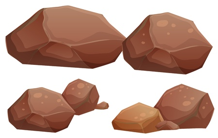 rocks and minerals: Illustration of the big and small rocks on a white background