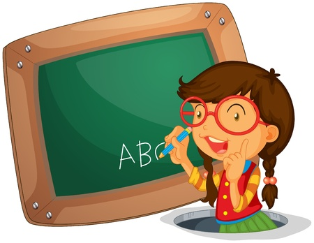 Illustration of a girl writing on the board on a white background Stock Vector - 20888932