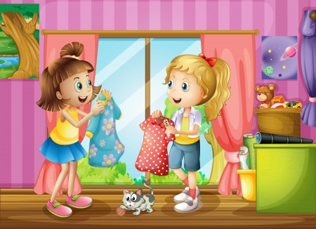 chat window: Illustration of the two girls talking about their dresses