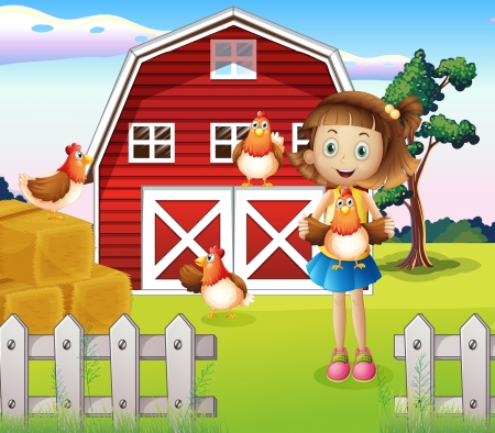 red barn: Illustration of a girl holding a chicken at the farm