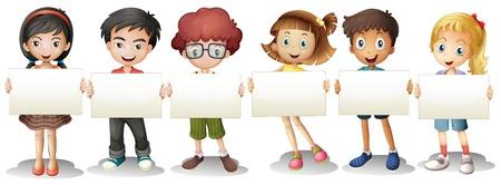 Illustratie van de zes kinderen met lege signages op een witte achtergrond