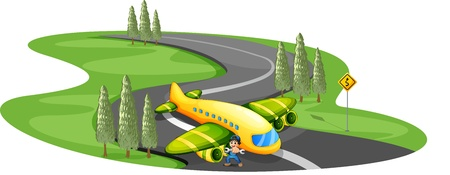 jetplane: Illustration of a boy with a plane landing at the long winding road on a white background