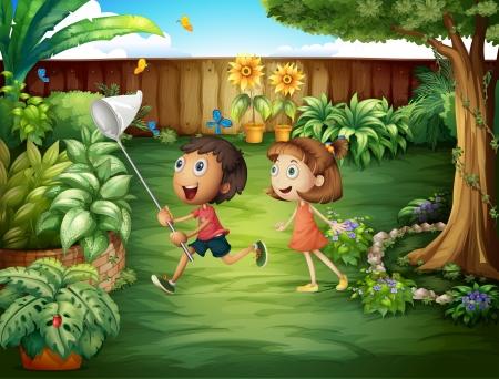 Illustratie van de twee vrienden het vangen van vlinders in de achtertuin