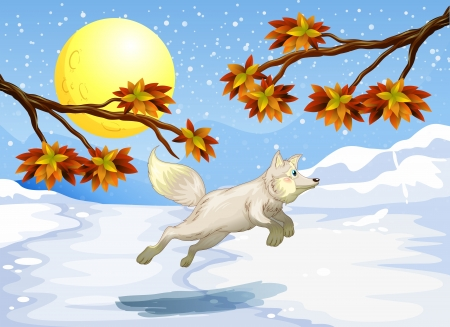 Illustration of a fox jumping Vector