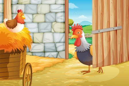 barn doors: Illustration of a rooster and a hen at the barnhouse