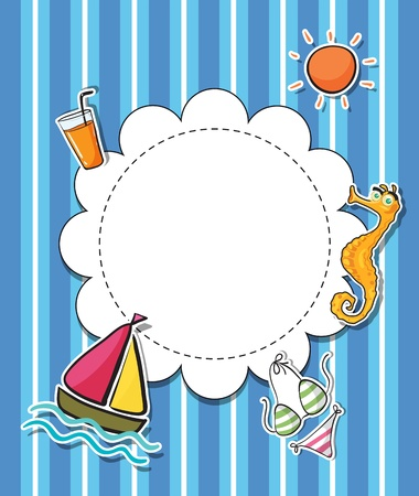 Illustration of an empty rounded template with things found at the beach Stock Vector - 20888959