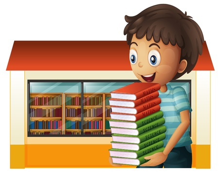Illusration of a boy carrying books outside the library on a white background  Stock Vector - 20888963