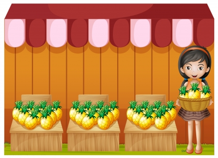 vendor: Illustration of a girl selling pineapples on a white background