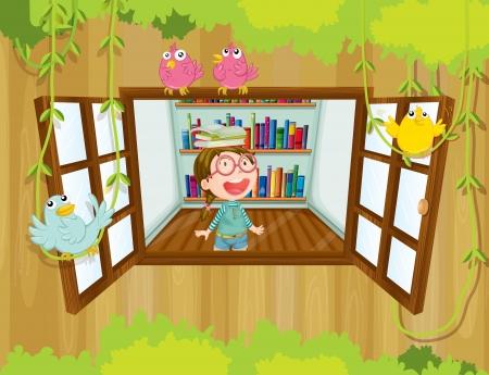 鳥と窓の近くに彼女の頭の上に本を持つ少女のイラスト  イラスト・ベクター素材