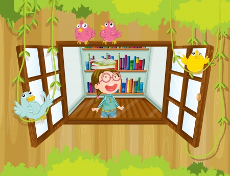 wooden window: Illustration of a girl with a book above her head near the window with birds Illustration