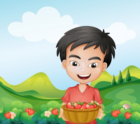 Illustration of a boy holding a basket of strawberries  Vector